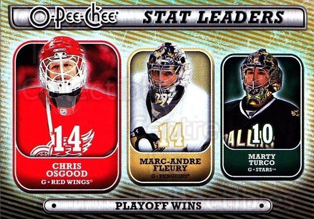 2008-09 O-pee-chee Stat Leaders #14 Chris Osgood, Marc-Andre Fleury, Marty Turco<br/>1 In Stock - $3.00 each - <a href=https://centericecollectibles.foxycart.com/cart?name=2008-09%20O-pee-chee%20Stat%20Leaders%20%2314%20Chris%20Osgood,%20M...&quantity_max=1&price=$3.00&code=287392 class=foxycart> Buy it now! </a>