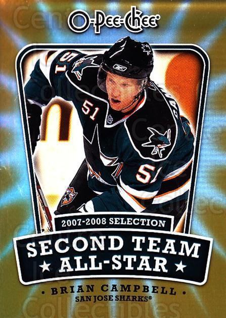 2008-09 O-pee-chee Second Team #4 Brian Campbell<br/>2 In Stock - $2.00 each - <a href=https://centericecollectibles.foxycart.com/cart?name=2008-09%20O-pee-chee%20Second%20Team%20%234%20Brian%20Campbell...&quantity_max=2&price=$2.00&code=287405 class=foxycart> Buy it now! </a>