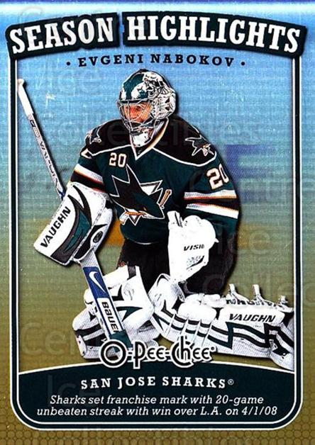 2008-09 O-Pee-Chee Season Highlights #5 Evgeni Nabokov<br/>2 In Stock - $2.00 each - <a href=https://centericecollectibles.foxycart.com/cart?name=2008-09%20O-Pee-Chee%20Season%20Highlights%20%235%20Evgeni%20Nabokov...&quantity_max=2&price=$2.00&code=287418 class=foxycart> Buy it now! </a>