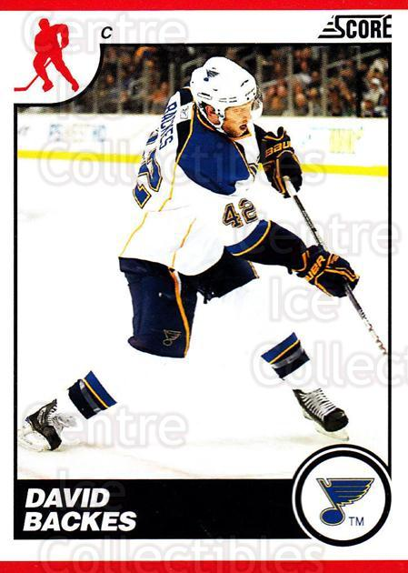 2010-11 Score #415 David Backes<br/>3 In Stock - $1.00 each - <a href=https://centericecollectibles.foxycart.com/cart?name=2010-11%20Score%20%23415%20David%20Backes...&quantity_max=3&price=$1.00&code=287866 class=foxycart> Buy it now! </a>