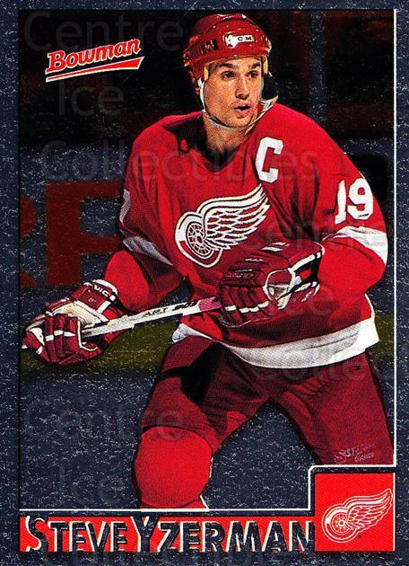 1995-96 Bowman Foil #21 Steve Yzerman<br/>4 In Stock - $5.00 each - <a href=https://centericecollectibles.foxycart.com/cart?name=1995-96%20Bowman%20Foil%20%2321%20Steve%20Yzerman...&price=$5.00&code=288321 class=foxycart> Buy it now! </a>
