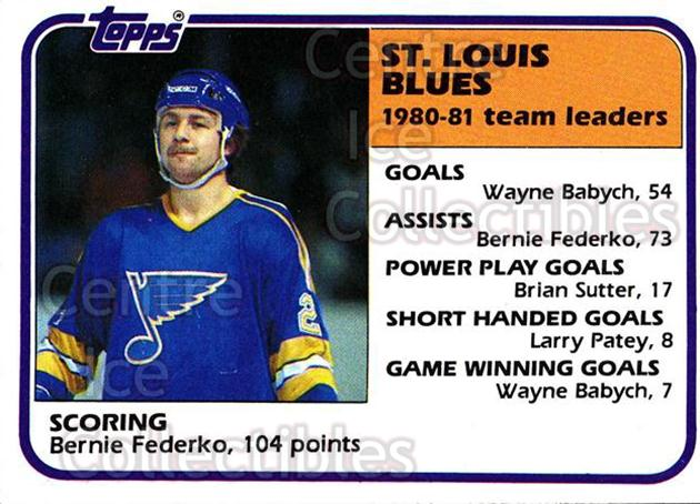1981-82 Topps #62 Bernie Federko<br/>7 In Stock - $1.00 each - <a href=https://centericecollectibles.foxycart.com/cart?name=1981-82%20Topps%20%2362%20Bernie%20Federko...&quantity_max=7&price=$1.00&code=28936 class=foxycart> Buy it now! </a>