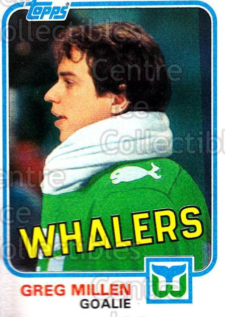 1981-82 Topps #E115 Greg Millen<br/>8 In Stock - $1.00 each - <a href=https://centericecollectibles.foxycart.com/cart?name=1981-82%20Topps%20%23E115%20Greg%20Millen...&quantity_max=8&price=$1.00&code=28957 class=foxycart> Buy it now! </a>
