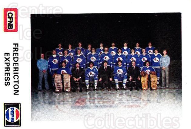 1982-83 Fredericton Express #1 Fredericton Express, Team Photo<br/>5 In Stock - $2.00 each - <a href=https://centericecollectibles.foxycart.com/cart?name=1982-83%20Fredericton%20Express%20%231%20Fredericton%20Exp...&price=$2.00&code=29090 class=foxycart> Buy it now! </a>