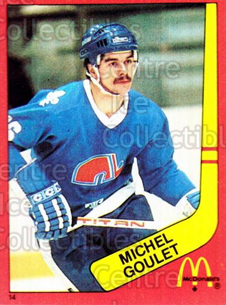 1982-83 McDonalds Stickers #14 Michel Goulet<br/>6 In Stock - $2.00 each - <a href=https://centericecollectibles.foxycart.com/cart?name=1982-83%20McDonalds%20Stickers%20%2314%20Michel%20Goulet...&quantity_max=6&price=$2.00&code=29167 class=foxycart> Buy it now! </a>