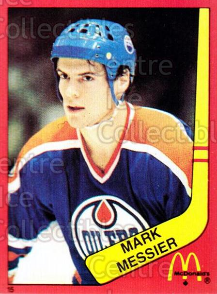 1982-83 McDonalds Stickers #15 Mark Messier<br/>2 In Stock - $5.00 each - <a href=https://centericecollectibles.foxycart.com/cart?name=1982-83%20McDonalds%20Stickers%20%2315%20Mark%20Messier...&quantity_max=2&price=$5.00&code=29168 class=foxycart> Buy it now! </a>