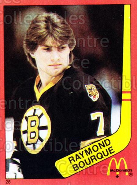 1982-83 McDonalds Stickers #28 Ray Bourque<br/>1 In Stock - $5.00 each - <a href=https://centericecollectibles.foxycart.com/cart?name=1982-83%20McDonalds%20Stickers%20%2328%20Ray%20Bourque...&quantity_max=1&price=$5.00&code=29175 class=foxycart> Buy it now! </a>