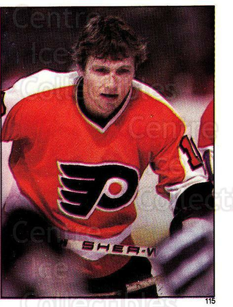 1982-83 O-Pee-Chee Stickers #115 Bobby Clarke<br/>6 In Stock - $2.00 each - <a href=https://centericecollectibles.foxycart.com/cart?name=1982-83%20O-Pee-Chee%20Stickers%20%23115%20Bobby%20Clarke...&quantity_max=6&price=$2.00&code=29241 class=foxycart> Buy it now! </a>