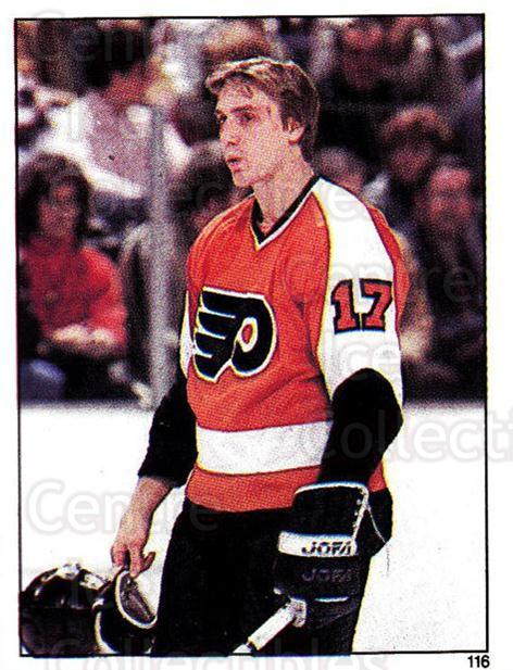 1982-83 O-Pee-Chee Stickers #116 Paul Holmgren<br/>5 In Stock - $2.00 each - <a href=https://centericecollectibles.foxycart.com/cart?name=1982-83%20O-Pee-Chee%20Stickers%20%23116%20Paul%20Holmgren...&quantity_max=5&price=$2.00&code=29242 class=foxycart> Buy it now! </a>