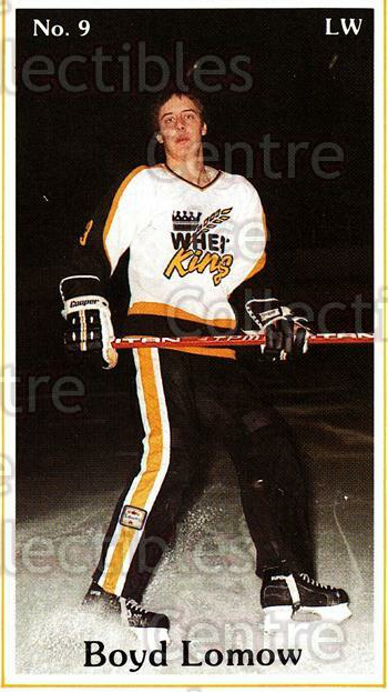 1983-84 Brandon Wheat Kings #13 Boyd Lomow<br/>5 In Stock - $3.00 each - <a href=https://centericecollectibles.foxycart.com/cart?name=1983-84%20Brandon%20Wheat%20Kings%20%2313%20Boyd%20Lomow...&quantity_max=5&price=$3.00&code=29345 class=foxycart> Buy it now! </a>