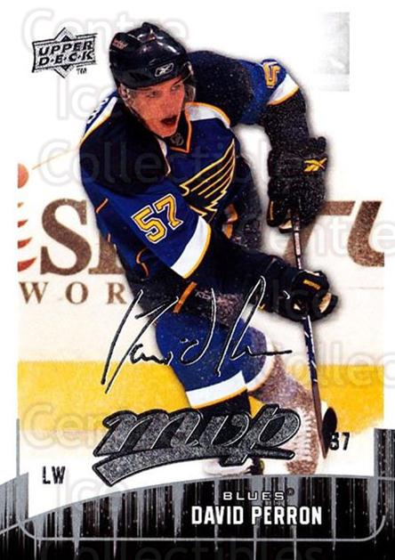 2009-10 Upper Deck MVP #42 David Perron<br/>5 In Stock - $1.00 each - <a href=https://centericecollectibles.foxycart.com/cart?name=2009-10%20Upper%20Deck%20MVP%20%2342%20David%20Perron...&quantity_max=5&price=$1.00&code=293539 class=foxycart> Buy it now! </a>