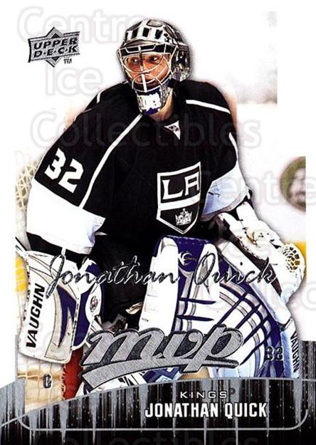 2009-10 Upper Deck MVP #165 Jonathan Quick<br/>5 In Stock - $2.00 each - <a href=https://centericecollectibles.foxycart.com/cart?name=2009-10%20Upper%20Deck%20MVP%20%23165%20Jonathan%20Quick...&quantity_max=5&price=$2.00&code=293662 class=foxycart> Buy it now! </a>