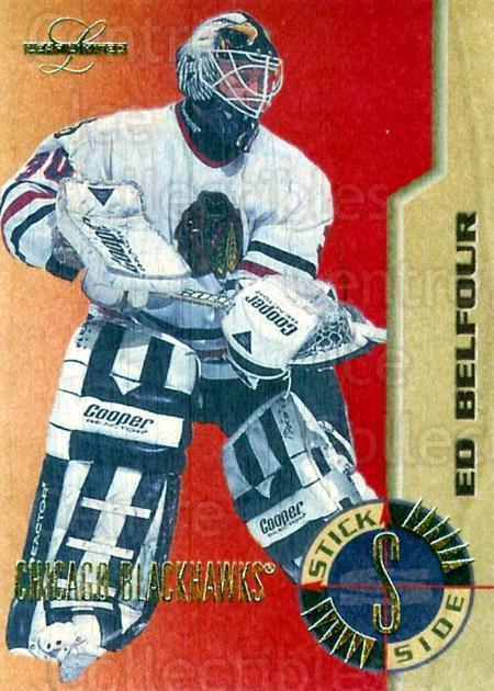 1995-96 Leaf Limited Stick Side #8 Ed Belfour<br/>2 In Stock - $10.00 each - <a href=https://centericecollectibles.foxycart.com/cart?name=1995-96%20Leaf%20Limited%20Stick%20Side%20%238%20Ed%20Belfour...&price=$10.00&code=294528 class=foxycart> Buy it now! </a>