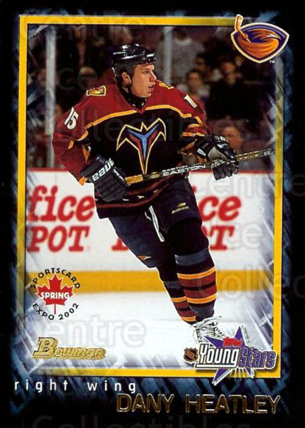 2002 Bowman YoungStars Spring Expo #8 Dany Heatley<br/>2 In Stock - $3.00 each - <a href=https://centericecollectibles.foxycart.com/cart?name=2002%20Bowman%20YoungStars%20Spring%20Expo%20%238%20Dany%20Heatley...&quantity_max=2&price=$3.00&code=294536 class=foxycart> Buy it now! </a>