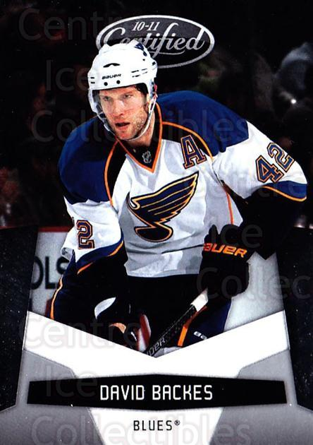 2010-11 Certified #126 David Backes<br/>4 In Stock - $1.00 each - <a href=https://centericecollectibles.foxycart.com/cart?name=2010-11%20Certified%20%23126%20David%20Backes...&quantity_max=4&price=$1.00&code=294730 class=foxycart> Buy it now! </a>