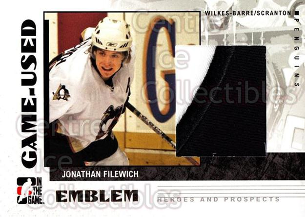 2007-08 ITG Heroes and Prospects Emblem #47 Jonathan Filewich<br/>3 In Stock - $10.00 each - <a href=https://centericecollectibles.foxycart.com/cart?name=2007-08%20ITG%20Heroes%20and%20Prospects%20Emblem%20%2347%20Jonathan%20Filewi...&quantity_max=3&price=$10.00&code=294900 class=foxycart> Buy it now! </a>