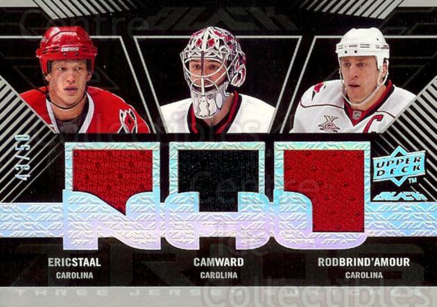 2008-09 UD Black Jersey Trios #UBP3BSW Eric Staal, Cam Ward, Rod Brind'Amour<br/>1 In Stock - $10.00 each - <a href=https://centericecollectibles.foxycart.com/cart?name=2008-09%20UD%20Black%20Jersey%20Trios%20%23UBP3BSW%20Eric%20Staal,%20Cam...&price=$10.00&code=295950 class=foxycart> Buy it now! </a>