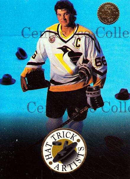 1993-94 Leaf Hat Trick Artists #1 Mario Lemieux<br/>13 In Stock - $5.00 each - <a href=https://centericecollectibles.foxycart.com/cart?name=1993-94%20Leaf%20Hat%20Trick%20Artists%20%231%20Mario%20Lemieux...&price=$5.00&code=295987 class=foxycart> Buy it now! </a>