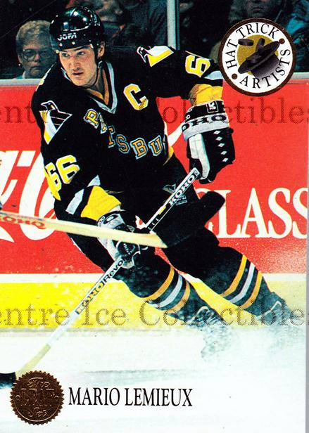 1993-94 Leaf Hat Trick Artists #4 Mario Lemieux<br/>7 In Stock - $5.00 each - <a href=https://centericecollectibles.foxycart.com/cart?name=1993-94%20Leaf%20Hat%20Trick%20Artists%20%234%20Mario%20Lemieux...&price=$5.00&code=295989 class=foxycart> Buy it now! </a>