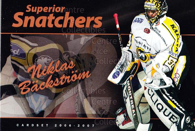 2006-07 Finnish Cardset Superior Snatchers #1 Niklas Backstrom<br/>7 In Stock - $3.00 each - <a href=https://centericecollectibles.foxycart.com/cart?name=2006-07%20Finnish%20Cardset%20Superior%20Snatchers%20%231%20Niklas%20Backstro...&quantity_max=7&price=$3.00&code=296340 class=foxycart> Buy it now! </a>