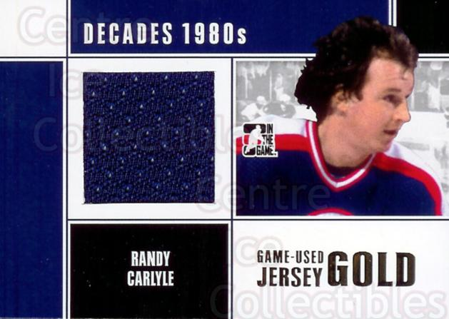 2010-11 ITG Decades 1980s Jersey Gold #52 Randy Carlyle<br/>1 In Stock - $20.00 each - <a href=https://centericecollectibles.foxycart.com/cart?name=2010-11%20ITG%20Decades%201980s%20Jersey%20Gold%20%2352%20Randy%20Carlyle...&quantity_max=1&price=$20.00&code=296620 class=foxycart> Buy it now! </a>