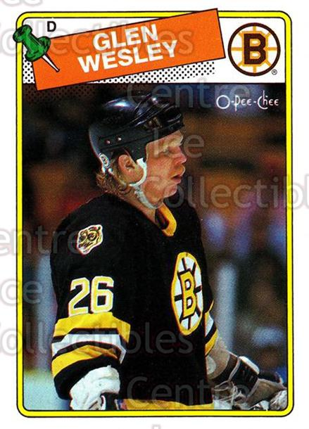 1988-89 O-Pee-Chee #166 Glen Wesley<br/>3 In Stock - $1.00 each - <a href=https://centericecollectibles.foxycart.com/cart?name=1988-89%20O-Pee-Chee%20%23166%20Glen%20Wesley...&quantity_max=3&price=$1.00&code=296760 class=foxycart> Buy it now! </a>