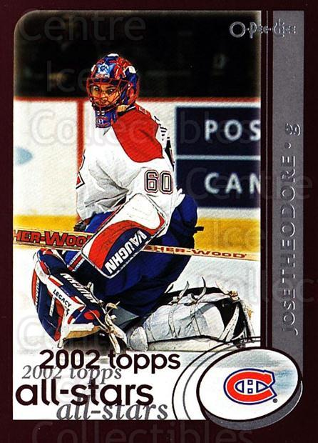 2002-03 O-Pee-Chee #319 Jose Theodore<br/>2 In Stock - $1.00 each - <a href=https://centericecollectibles.foxycart.com/cart?name=2002-03%20O-Pee-Chee%20%23319%20Jose%20Theodore...&quantity_max=2&price=$1.00&code=297616 class=foxycart> Buy it now! </a>