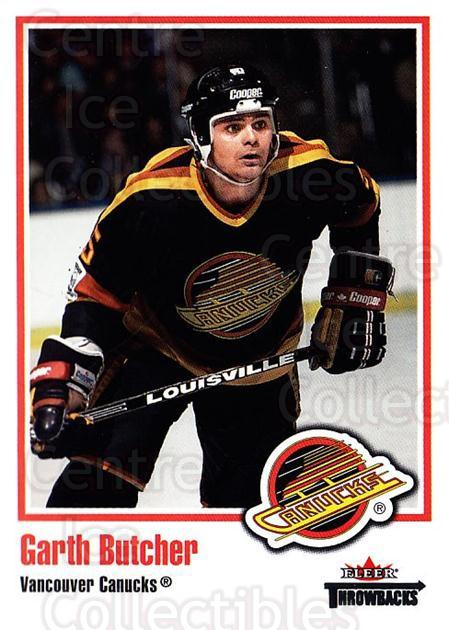 2002-03 Fleer Throwbacks #74 Garth Butcher<br/>4 In Stock - $2.00 each - <a href=https://centericecollectibles.foxycart.com/cart?name=2002-03%20Fleer%20Throwbacks%20%2374%20Garth%20Butcher...&quantity_max=4&price=$2.00&code=297776 class=foxycart> Buy it now! </a>