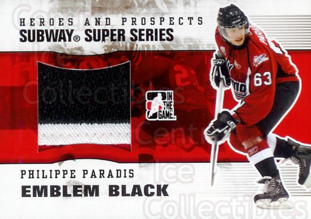 2009-10 ITG Heroes and Prospects Subway Emblem Black #12 Philippe Paradis<br/>1 In Stock - $20.00 each - <a href=https://centericecollectibles.foxycart.com/cart?name=2009-10%20ITG%20Heroes%20and%20Prospects%20Subway%20Emblem%20Black%20%2312%20Philippe%20Paradi...&quantity_max=1&price=$20.00&code=297935 class=foxycart> Buy it now! </a>