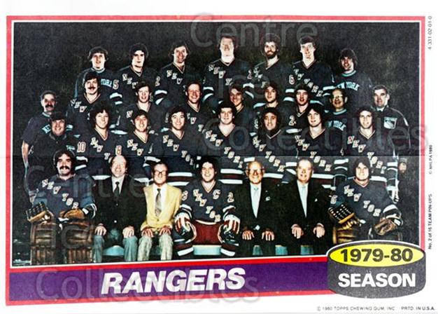 1980-81 Topps Team Posters #2 New York Rangers<br/>4 In Stock - $2.00 each - <a href=https://centericecollectibles.foxycart.com/cart?name=1980-81%20Topps%20Team%20Posters%20%232%20New%20York%20Ranger...&quantity_max=4&price=$2.00&code=29872 class=foxycart> Buy it now! </a>