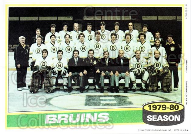 1980-81 Topps Team Posters #4 Boston Bruins<br/>1 In Stock - $2.00 each - <a href=https://centericecollectibles.foxycart.com/cart?name=1980-81%20Topps%20Team%20Posters%20%234%20Boston%20Bruins...&quantity_max=1&price=$2.00&code=29874 class=foxycart> Buy it now! </a>