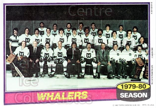 1980-81 Topps Team Posters #5 Hartford Whalers<br/>1 In Stock - $2.00 each - <a href=https://centericecollectibles.foxycart.com/cart?name=1980-81%20Topps%20Team%20Posters%20%235%20Hartford%20Whaler...&quantity_max=1&price=$2.00&code=29875 class=foxycart> Buy it now! </a>