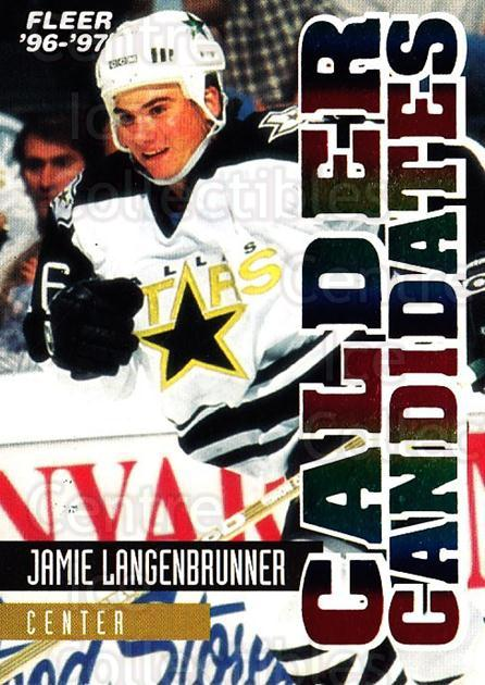 1996-97 Fleer Calder Candidates #6 Jamie Langenbrunner<br/>1 In Stock - $2.00 each - <a href=https://centericecollectibles.foxycart.com/cart?name=1996-97%20Fleer%20Calder%20Candidates%20%236%20Jamie%20Langenbru...&quantity_max=1&price=$2.00&code=299101 class=foxycart> Buy it now! </a>