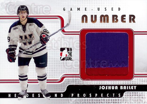 2008-09 ITG Heroes and Prospects Number Silver #11 Joshua Bailey<br/>1 In Stock - $20.00 each - <a href=https://centericecollectibles.foxycart.com/cart?name=2008-09%20ITG%20Heroes%20and%20Prospects%20Number%20Silver%20%2311%20Joshua%20Bailey...&quantity_max=1&price=$20.00&code=299247 class=foxycart> Buy it now! </a>