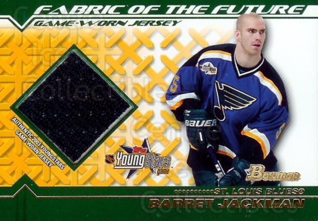 2002-03 Bowman YoungStars Fabric of the Future #FFJBJ Barret Jackman<br/>1 In Stock - $5.00 each - <a href=https://centericecollectibles.foxycart.com/cart?name=2002-03%20Bowman%20YoungStars%20Fabric%20of%20the%20Future%20%23FFJBJ%20Barret%20Jackman...&quantity_max=1&price=$5.00&code=299295 class=foxycart> Buy it now! </a>