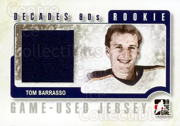 2010-11 ITG Decades 1980s Rookie Jersey Silver #9 Tom Barrasso<br/>1 In Stock - $10.00 each - <a href=https://centericecollectibles.foxycart.com/cart?name=2010-11%20ITG%20Decades%201980s%20Rookie%20Jersey%20Silver%20%239%20Tom%20Barrasso...&price=$10.00&code=299325 class=foxycart> Buy it now! </a>