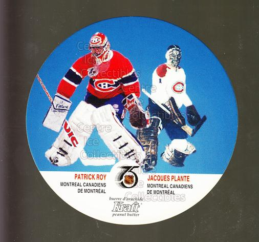 1991-92 Kraft #76 Patrick Roy, Jacques Plante<br/>11 In Stock - $5.00 each - <a href=https://centericecollectibles.foxycart.com/cart?name=1991-92%20Kraft%20%2376%20Patrick%20Roy,%20Ja...&quantity_max=11&price=$5.00&code=299385 class=foxycart> Buy it now! </a>