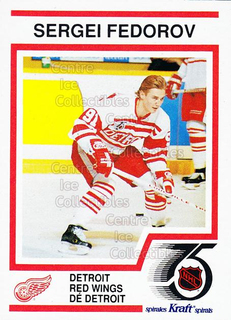 1991-92 Kraft ( Red Backs ) #51 Sergei Fedorov<br/>5 In Stock - $3.00 each - <a href=https://centericecollectibles.foxycart.com/cart?name=1991-92%20Kraft%20(%20Red%20Backs%20)%20%2351%20Sergei%20Fedorov...&quantity_max=5&price=$3.00&code=299390 class=foxycart> Buy it now! </a>