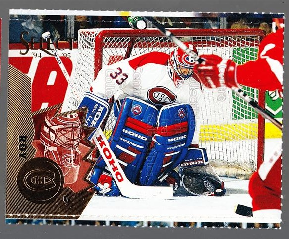 1994-95 Select Promos Magazine Perforated #9 Patrick Roy<br/>21 In Stock - $5.00 each - <a href=https://centericecollectibles.foxycart.com/cart?name=1994-95%20Select%20Promos%20Magazine%20Perforated%20%239%20Patrick%20Roy...&quantity_max=21&price=$5.00&code=299533 class=foxycart> Buy it now! </a>