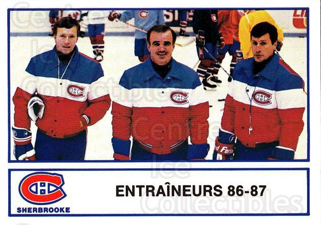 1986-87 Sherbrooke Canadiens #28 Pierre Creamer, Jean Hamel, Francois Allaire<br/>1 In Stock - $3.00 each - <a href=https://centericecollectibles.foxycart.com/cart?name=1986-87%20Sherbrooke%20Canadiens%20%2328%20Pierre%20Creamer,...&quantity_max=1&price=$3.00&code=30053 class=foxycart> Buy it now! </a>