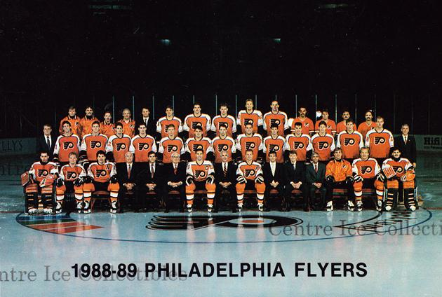1988-89 Philadelphia Flyers Postcards #1 Team Photo, Philadelphia Flyers<br/>1 In Stock - $3.00 each - <a href=https://centericecollectibles.foxycart.com/cart?name=1988-89%20Philadelphia%20Flyers%20Postcards%20%231%20Team%20Photo,%20Phi...&price=$3.00&code=30063 class=foxycart> Buy it now! </a>