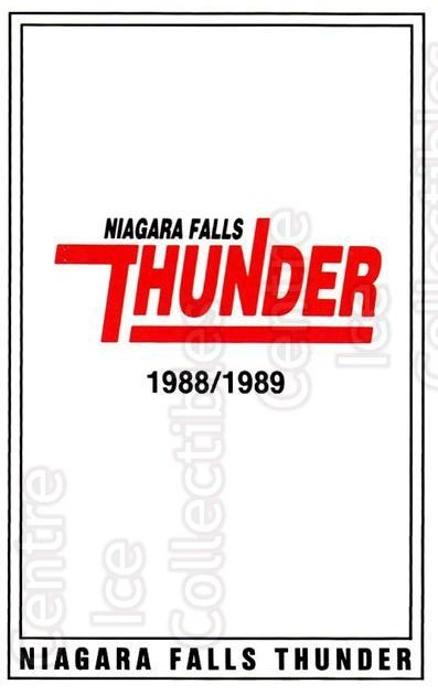 1988-89 Niagara Falls Thunder #1 Header Card<br/>5 In Stock - $3.00 each - <a href=https://centericecollectibles.foxycart.com/cart?name=1988-89%20Niagara%20Falls%20Thunder%20%231%20Header%20Card...&quantity_max=5&price=$3.00&code=30065 class=foxycart> Buy it now! </a>