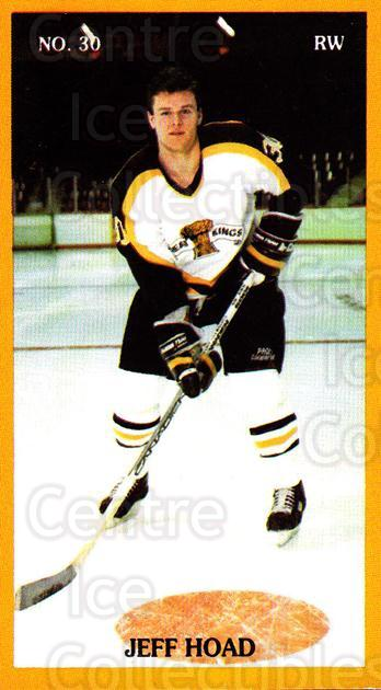 1990-91 Brandon Wheat Kings #1 Jeff Hoad<br/>1 In Stock - $3.00 each - <a href=https://centericecollectibles.foxycart.com/cart?name=1990-91%20Brandon%20Wheat%20Kings%20%231%20Jeff%20Hoad...&quantity_max=1&price=$3.00&code=30083 class=foxycart> Buy it now! </a>
