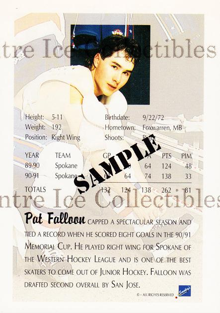 1991 Ultimate Draft Promos #1 Pat Falloon<br/>9 In Stock - $3.00 each - <a href=https://centericecollectibles.foxycart.com/cart?name=1991%20Ultimate%20Draft%20Promos%20%231%20Pat%20Falloon...&quantity_max=9&price=$3.00&code=30106 class=foxycart> Buy it now! </a>