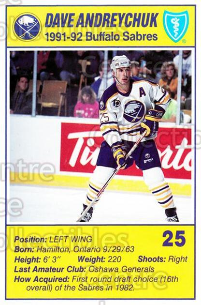 1991-92 Buffalo Sabres Blue Shield #1 Dave Andreychuk<br/>3 In Stock - $3.00 each - <a href=https://centericecollectibles.foxycart.com/cart?name=1991-92%20Buffalo%20Sabres%20Blue%20Shield%20%231%20Dave%20Andreychuk...&quantity_max=3&price=$3.00&code=30129 class=foxycart> Buy it now! </a>