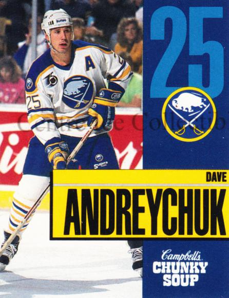 1991-92 Buffalo Sabres Campbells #1 Dave Andreychuk<br/>1 In Stock - $3.00 each - <a href=https://centericecollectibles.foxycart.com/cart?name=1991-92%20Buffalo%20Sabres%20Campbells%20%231%20Dave%20Andreychuk...&quantity_max=1&price=$3.00&code=30130 class=foxycart> Buy it now! </a>