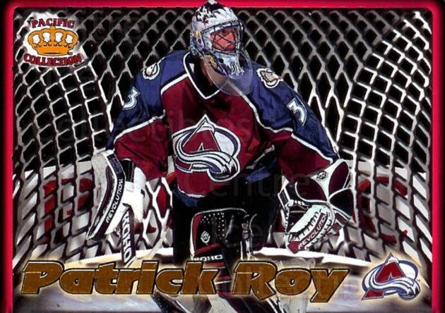 1997-98 Pacific In The Cage Laser Cuts #5 Patrick Roy<br/>1 In Stock - $15.00 each - <a href=https://centericecollectibles.foxycart.com/cart?name=1997-98%20Pacific%20In%20The%20Cage%20Laser%20Cuts%20%235%20Patrick%20Roy...&price=$15.00&code=301597 class=foxycart> Buy it now! </a>