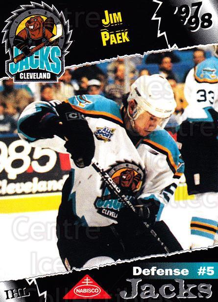 1997-98 Cleveland Lumberjacks #21 Jim Paek<br/>1 In Stock - $3.00 each - <a href=https://centericecollectibles.foxycart.com/cart?name=1997-98%20Cleveland%20Lumberjacks%20%2321%20Jim%20Paek...&quantity_max=1&price=$3.00&code=302096 class=foxycart> Buy it now! </a>
