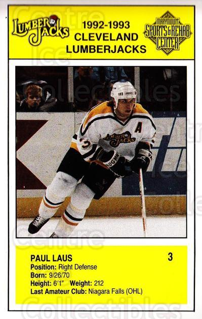 1992-93 Cleveland Lumberjacks Postcards #1 Paul Laus<br/>1 In Stock - $3.00 each - <a href=https://centericecollectibles.foxycart.com/cart?name=1992-93%20Cleveland%20Lumberjacks%20Postcards%20%231%20Paul%20Laus...&quantity_max=1&price=$3.00&code=302106 class=foxycart> Buy it now! </a>