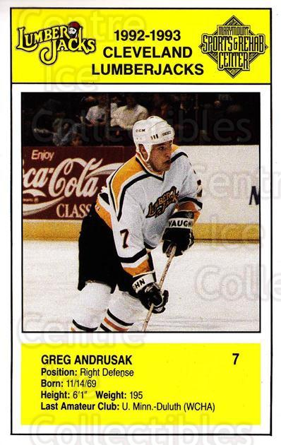 1992-93 Cleveland Lumberjacks Postcards #4 Greg Andrusak<br/>2 In Stock - $3.00 each - <a href=https://centericecollectibles.foxycart.com/cart?name=1992-93%20Cleveland%20Lumberjacks%20Postcards%20%234%20Greg%20Andrusak...&quantity_max=2&price=$3.00&code=302109 class=foxycart> Buy it now! </a>